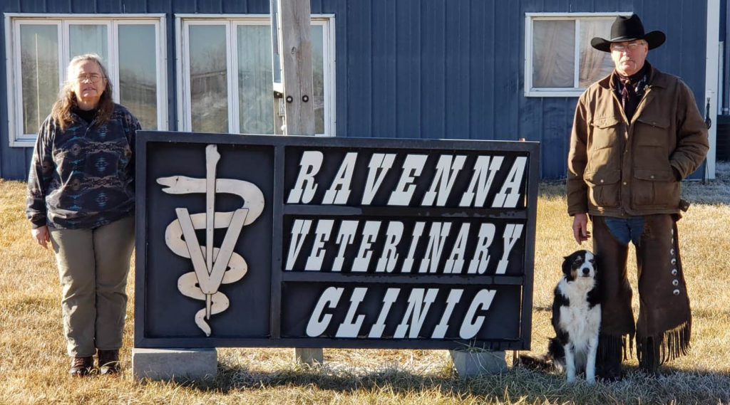 Ravenna Veterinary Clinic Sign with Dr. Beck and Doug Meas